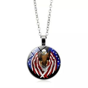 Other - Eagle USA Flag Wings Tibet Silver Glass Cabochon